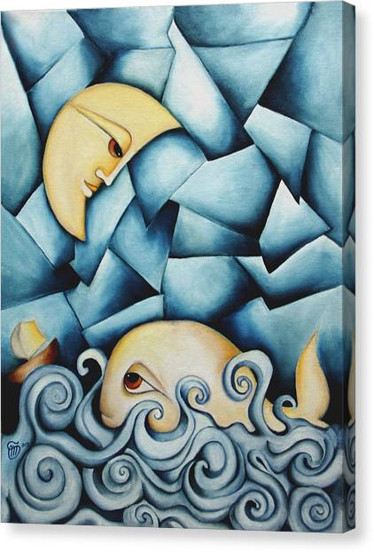 Moby Dick The Daughter Of The Moon  Canvas Print by Simona  Mereu