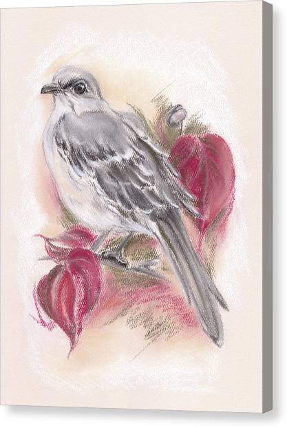 Canvas Print featuring the pastel Mockingbird In Autumn Dogwood by MM Anderson
