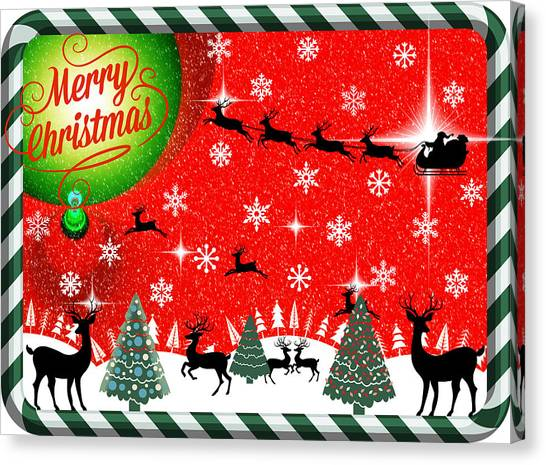 Mod Cards - Reindeer Games - Merry Christmas Canvas Print