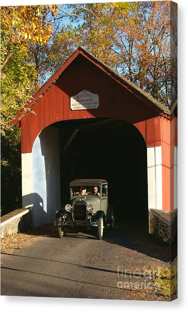Model A Ford At Knecht's Bridge Canvas Print