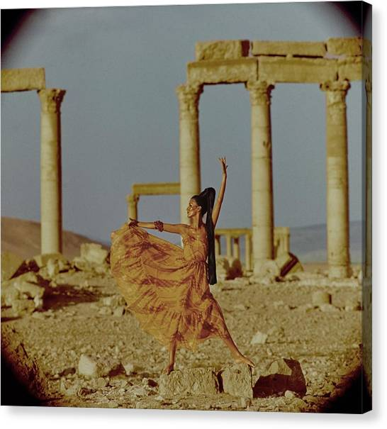 Syrian Canvas Print - Model By Columns At Palmyra by Henry Clarke