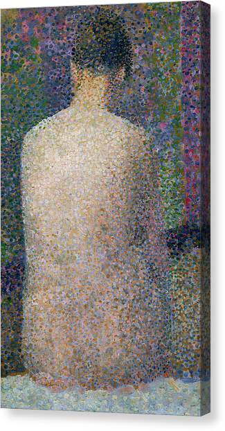 Post-impressionism Canvas Print - Model From The Back by Georges Pierre Seurat