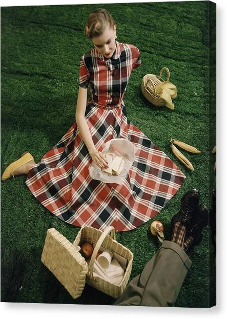 Sorority Canvas Print - Model In Gingham Dress Sitting On A Staged Lawn by Frances McLaughlin-Gill