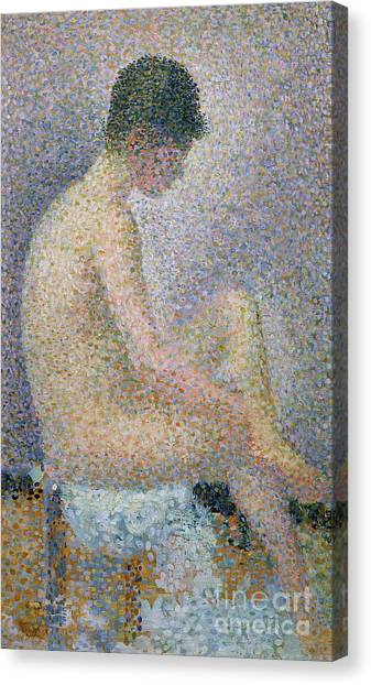 Pointillism Canvas Print - Model In Profile by Georges Pierre Seurat