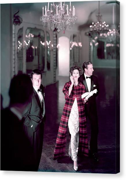 Plaid Canvas Print - Model In Silver Dress Escorted By A Gentleman by Henry Clarke