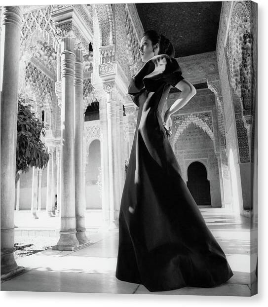 Updo Canvas Print - Model In The Court Of Lions Inside The Alhambra by Henry Clarke