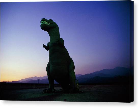 Tyrannosaurus Canvas Print - Model Of Tyrannosaurus Rex On Roadside by David Parker/science Photo Library