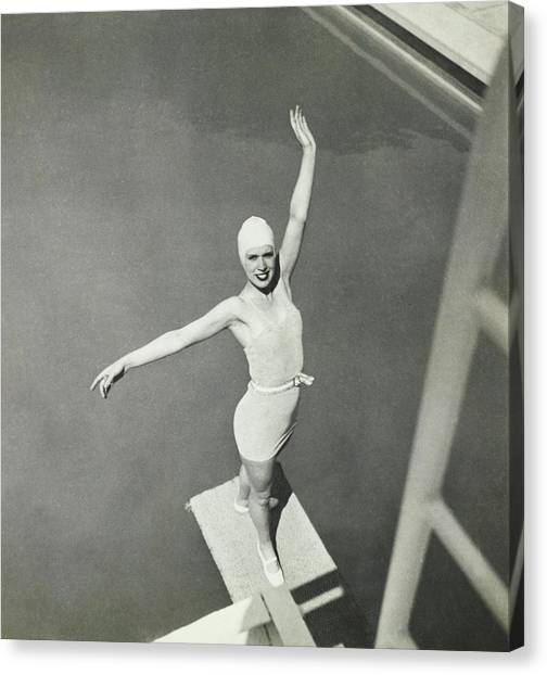 Sports Clothing Canvas Print - Model On A Diving Board In Bvd Swimsuit by George Hoyningen-Huene