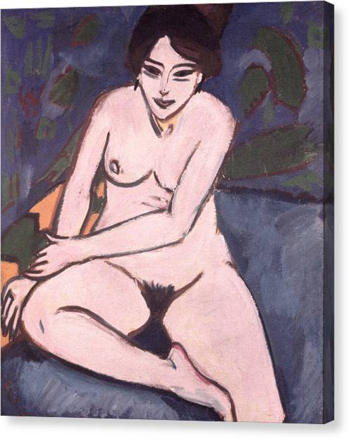 Naked Woman Canvas Print - Model On Blue Ground by Ernst Ludwig Kirchner