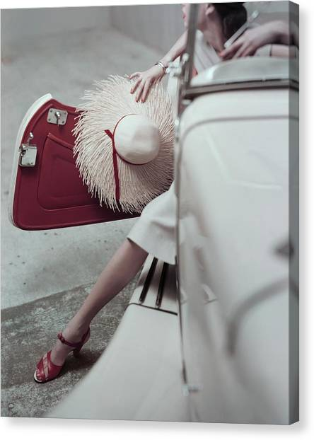 Drake Canvas Print - Model Stepping Out Of Car by Frances McLaughlin-Gill
