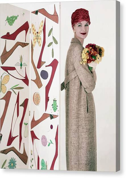 Suzuki Canvas Print - Model Sunny Harnett Holding Flowers by Karen Radkai