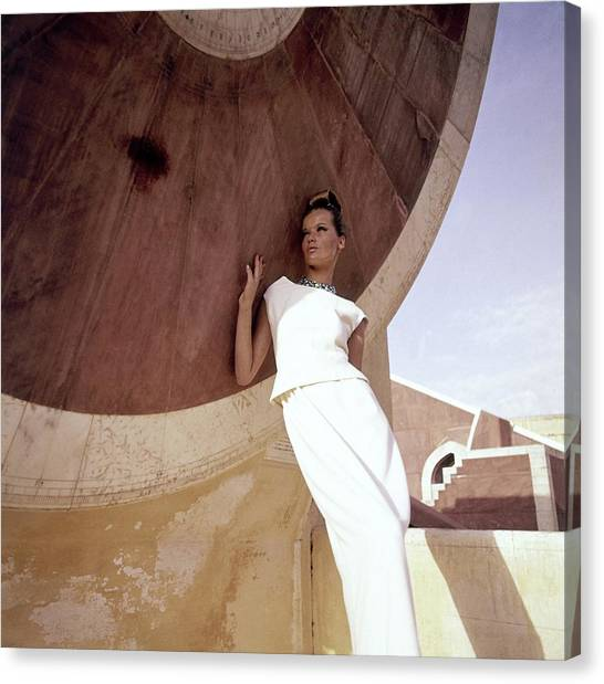 Adele Canvas Print - Model Veruschka Wearing A Two-piece Dress by Henry Clarke