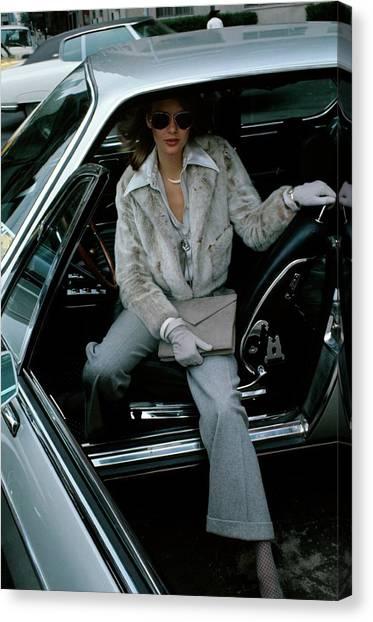 Flannel Canvas Print - Model Wearing A Ben Kahn Mink Jacket In A Car by Kourken Pakchanian