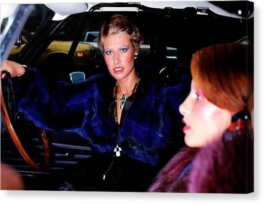 Model Wearing A Blue Chinchilla Jacket In A Car Canvas Print