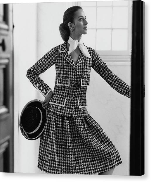 Updo Canvas Print - Model Wearing A Chanel Suit by Henry Clarke