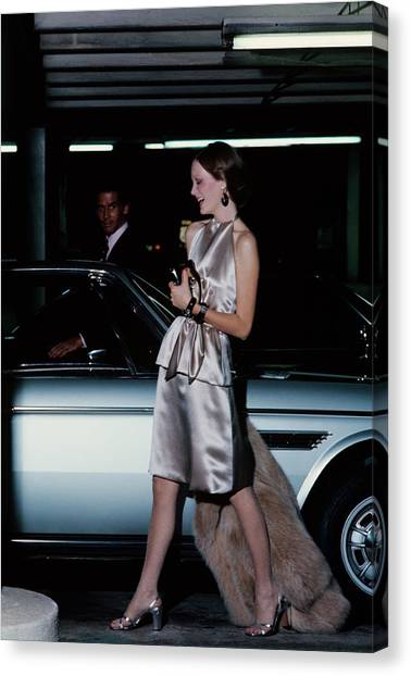 Model Wearing A Chester Now Ensemble By A Car Canvas Print