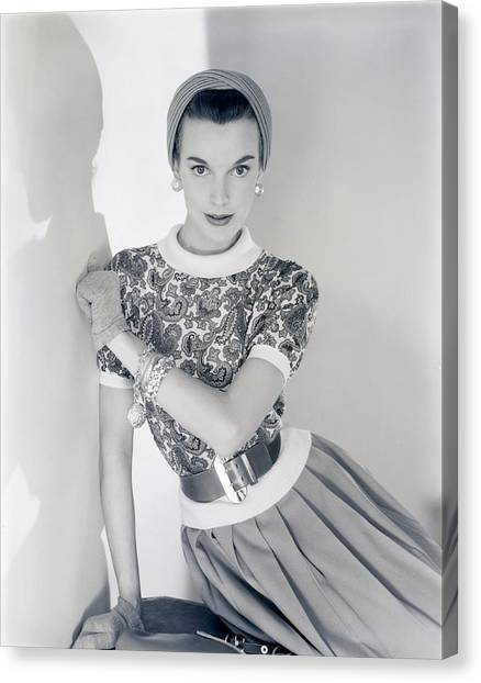 Flannel Canvas Print - Model Wearing A Greta Plattry Sweater And Skirt by Horst P. Horst