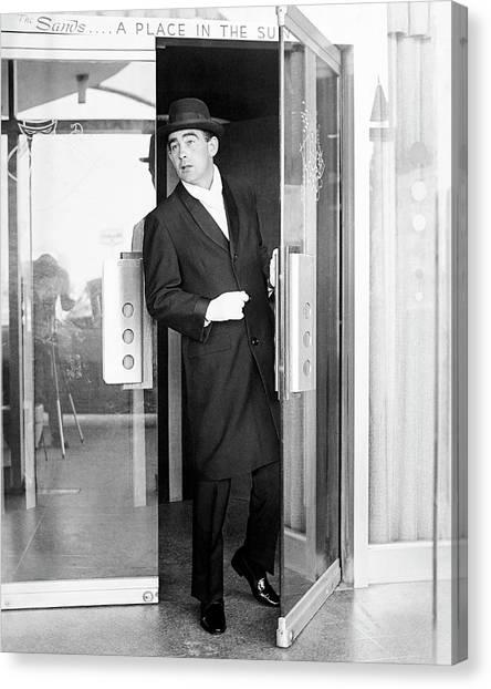 Model Wearing A Mohair Coat Canvas Print by Richard Waite