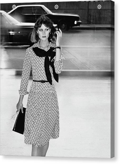 Model Wearing A Patterned Dress Canvas Print