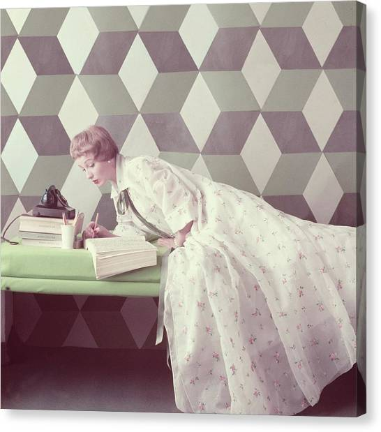 Model Wearing A Perfect Dressing Gown Canvas Print by Richard Rutledge