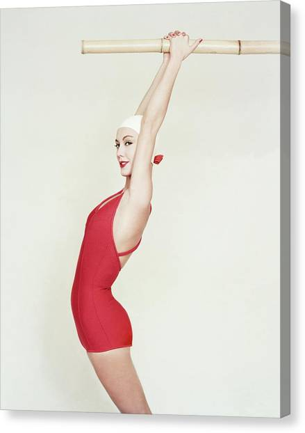 Model Wearing A Red Maillot Canvas Print