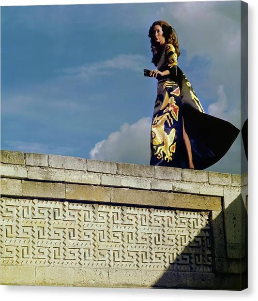 Model Wearing A Valentino Dress Canvas Print by Henry Clarke