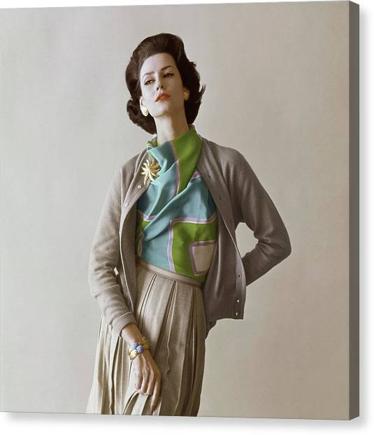 Flannel Canvas Print - Model Wearing A Vera Scarf And Cardigan by Jerry Schatzberg
