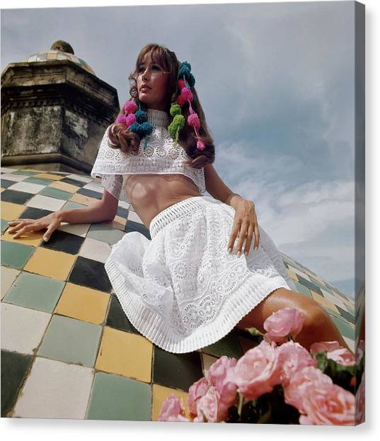 Oaxaca Canvas Print - Model Wearing A White Lace Cape Top And A White by Henry Clarke