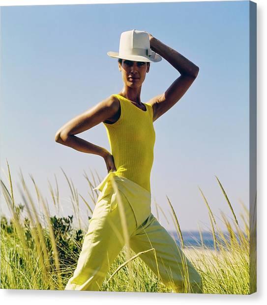 Model Wearing A Yellow Loomtogs Ensemble Canvas Print by John Cowan