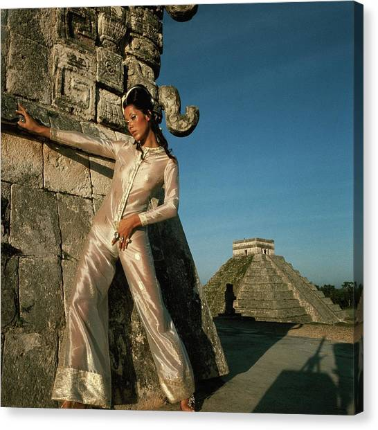 Suga Canvas Print - Model Wearing An Ivory And Gold Jumpsuit by Henry Clarke
