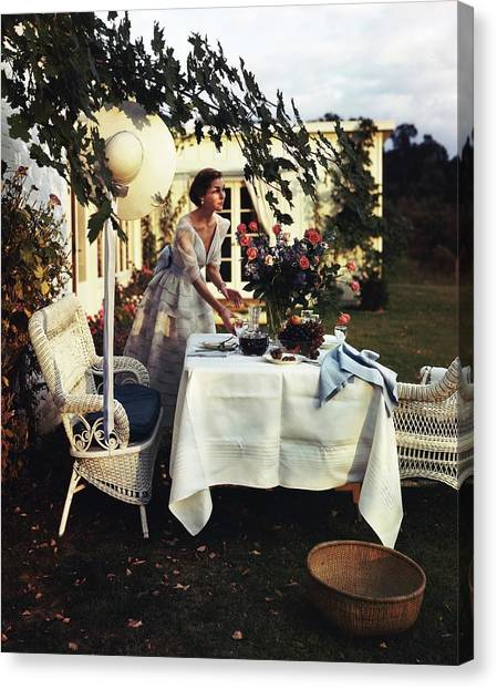 Model Wearing Bergdorf Goodman Dress Setting Canvas Print
