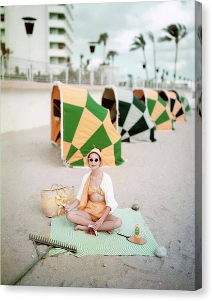 Model Wearing Cabana Swimwear On A Beach Canvas Print