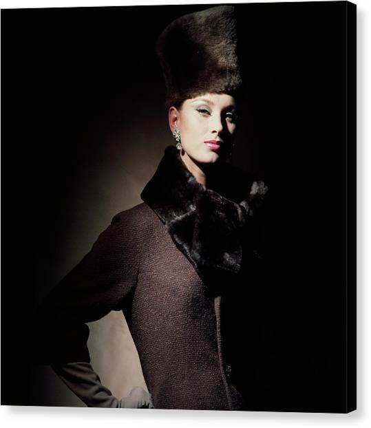 Adele Canvas Print - Model Wearing Fur Fez And Collar by Horst P. Horst
