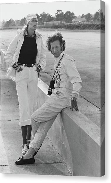 Model With Hurley Haywood At Sebring Race Track Canvas Print