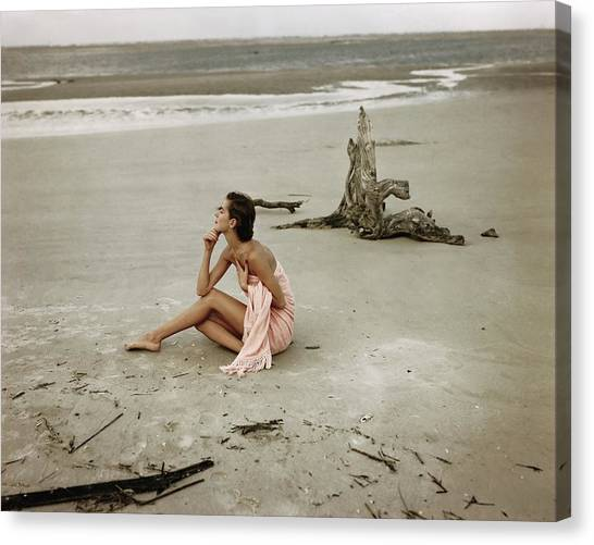 Chin Canvas Print - Model Wrapped In A Pink Towel On The Beach by Frances McLaughlin-Gill