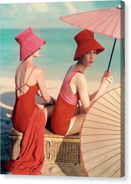 Fashion Canvas Print - Models At A Beach by Louise Dahl-Wolfe