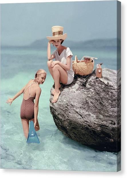 Flipper Canvas Print - Models At A Beach by Richard Rutledge