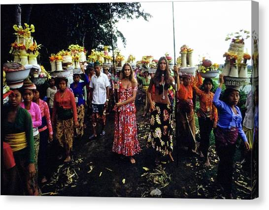 Models During Procession In Bali Canvas Print