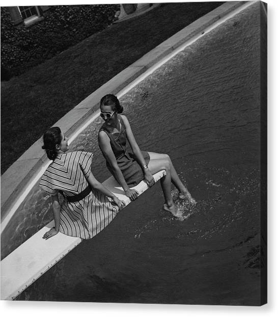 Models On A Diving Board Canvas Print by Toni Frissell