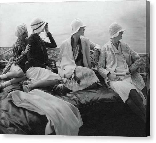 Models On A Yacht Canvas Print
