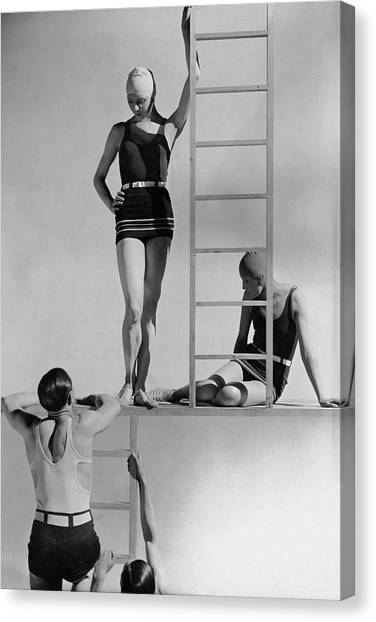Fashion Canvas Print - Models Wearing Bathing Suits by George Hoyningen-Huene