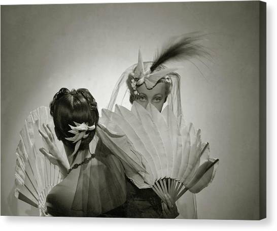 Models Wearing Patou Headdresses Canvas Print by Cecil Beaton