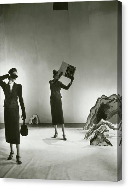 Salvador Dali Canvas Print - Models Wearing Schiaparelli Suits by Cecil Beaton