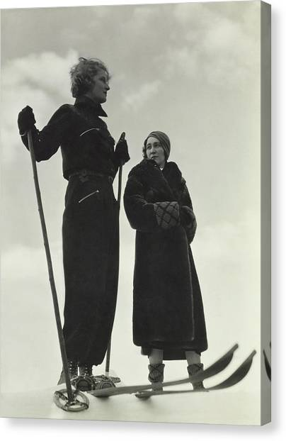 Models Wearing Skiing Ensembles Canvas Print by George Hoyningen-Huene