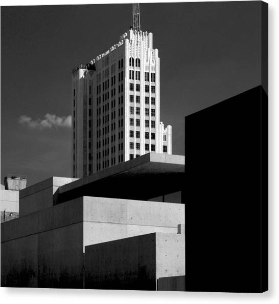 Modern Art Deco Architecture Black White Canvas Print