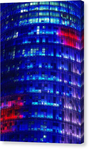 Modern Building At Night Canvas Print by Ioan Panaite