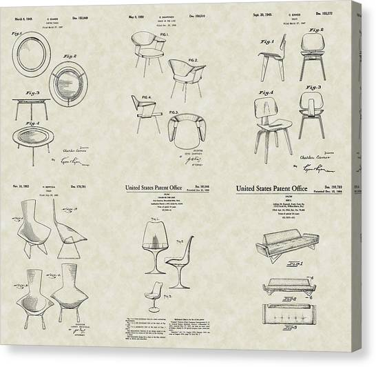 Eames Chair Canvas Print - Modern Chairs Patent Collection by PatentsAsArt