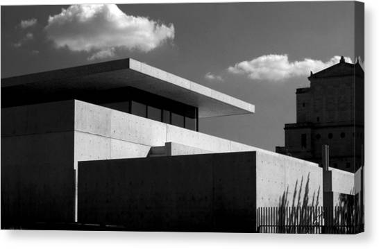 Modern Concrete Architecture Clouds Black White Canvas Print