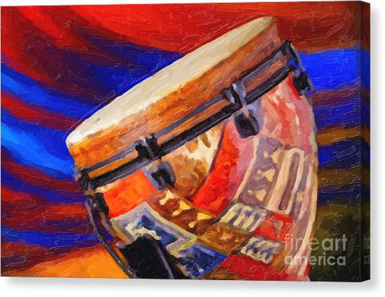 Djembe Canvas Print - Modern Djembe African Drum Painting In Color 3337.02 by M K  Miller