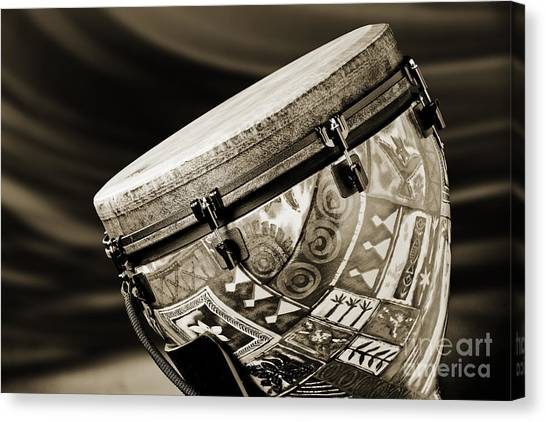 Djembe Canvas Print - Modern Djembe African Drum Photograph In Sepia 3336.01 by M K  Miller